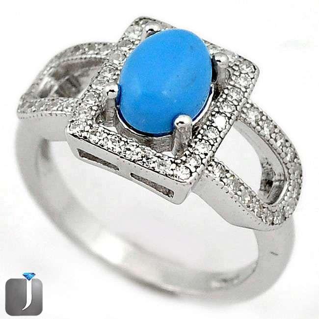 turquoise white topaz ring