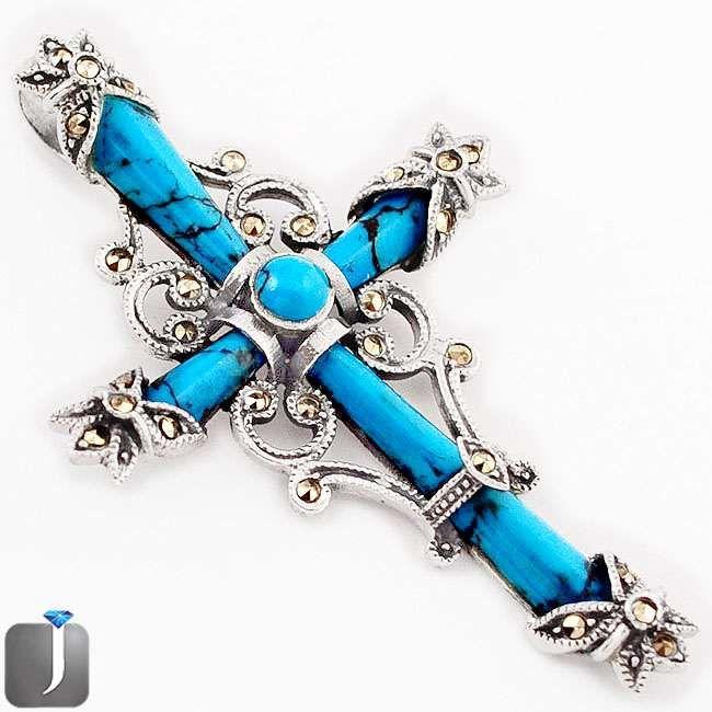 turquoise cross brooch pendant
