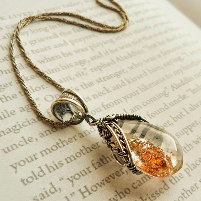 wire silver pendant with chlorite quartz