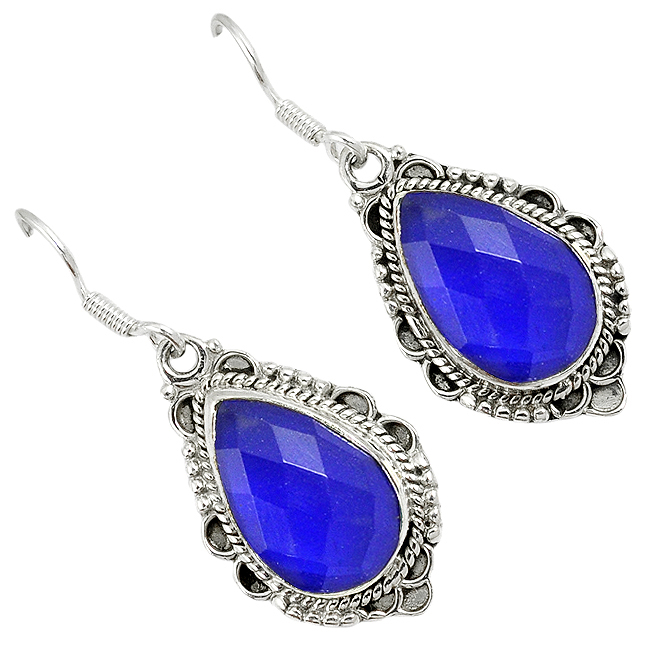 Natural Blue Jade Pear Shape 925 Sterling Silver Dangle Earrings Jewelry H93541
