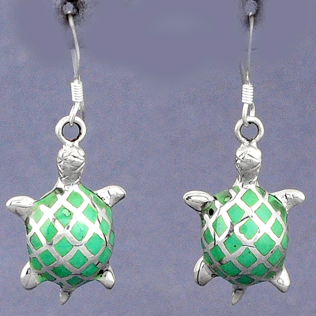 Green Turquoise  Tibetan Enamel Tortoise Dangle Earrings
