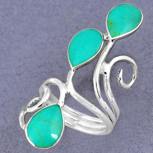 Green Turquoise Enamel Long Ring