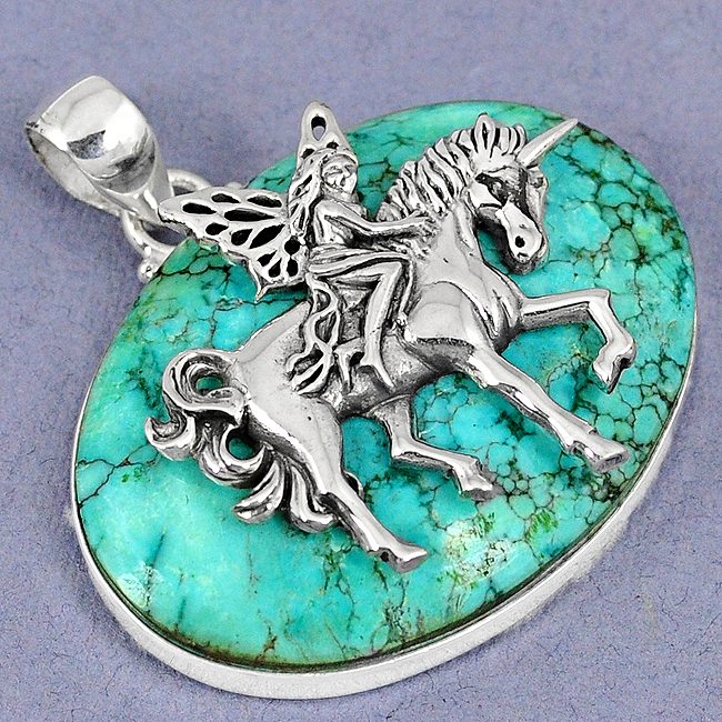 Green Turquoise Tibetan Riding Unicorn Horse Pendant