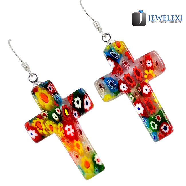 Italian Murano Glass Cross Dangle Earrings