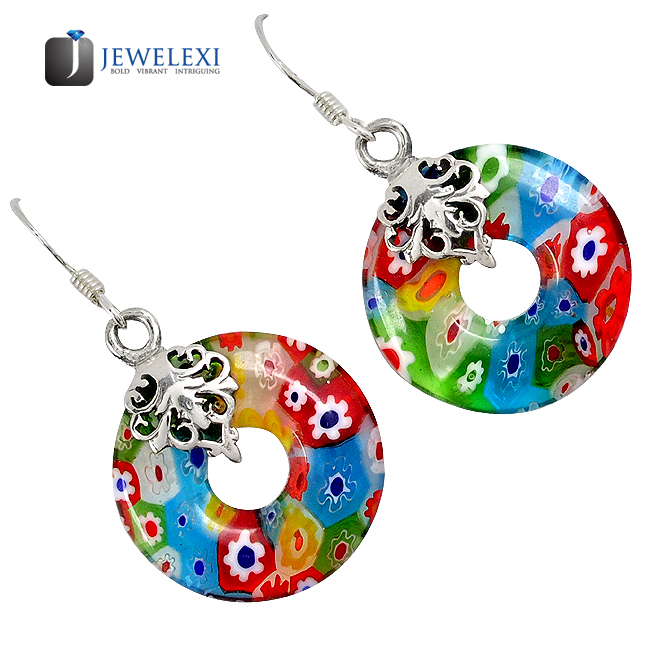Italian Murano Glass Donut Dangle Earrings