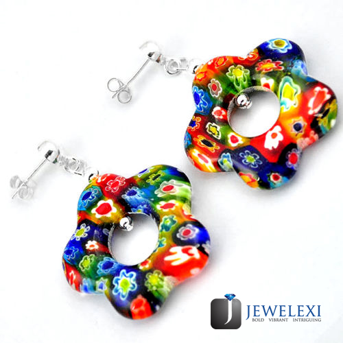 Italian Murano Glass Flower Star Earrings