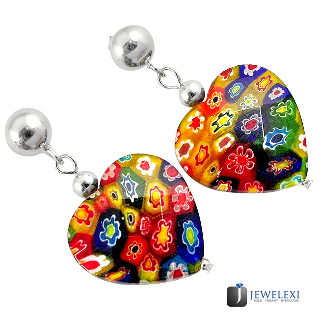 Italian Murano Glass Heart Dangle Earrings