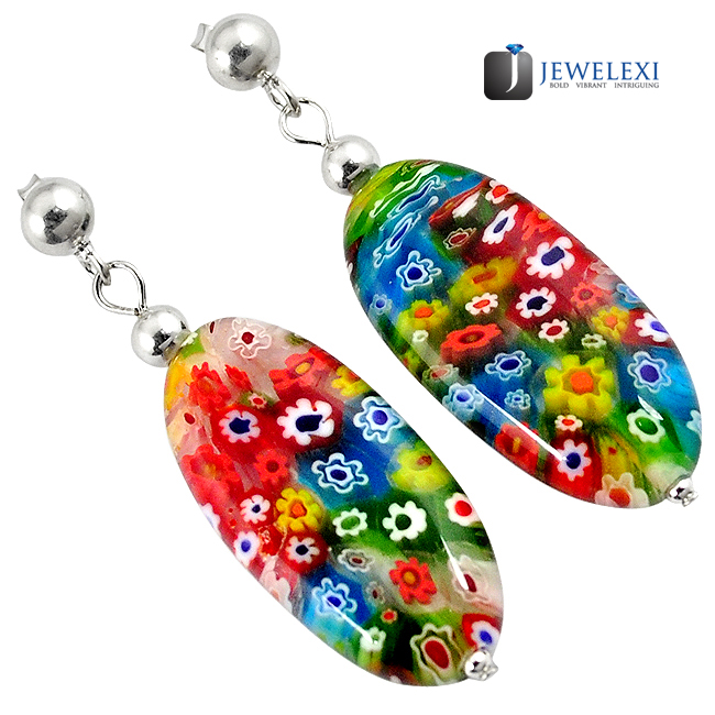 Italian Murano Glass Oval Shape Dangle Earrings
