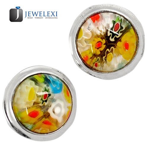 Italian Murano Glass Round Stud Earrings