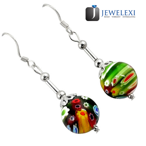 Italian Murano Glass Silver Dangle Earrings