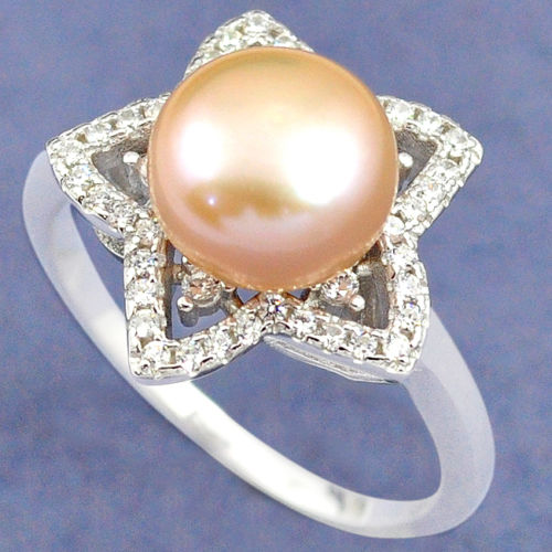 Pink Pearl White Topaz Ring