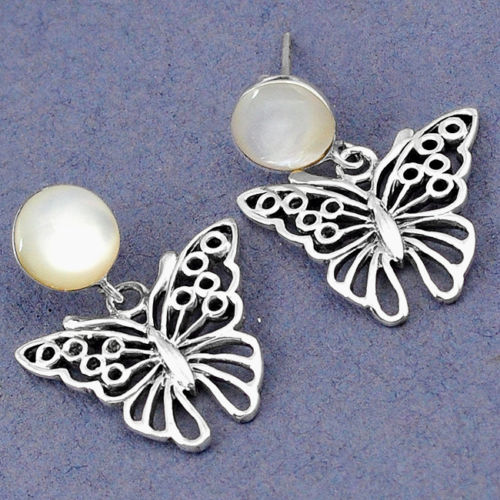 White Blister Pearl Butterfly Earrings