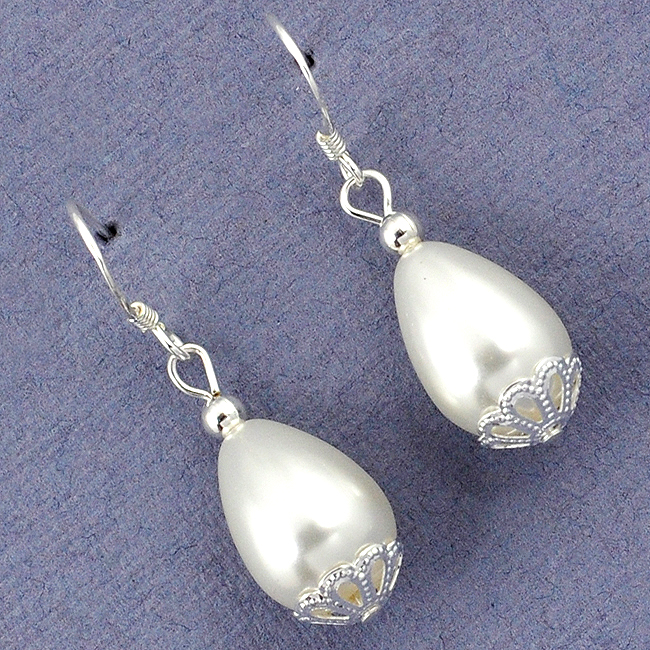 White Pearl Drop Dangle Earrings