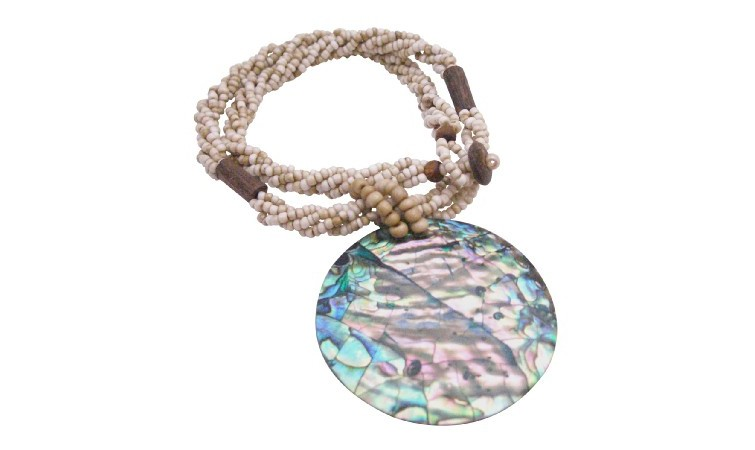 Abalone Pendant With Beige Beads 3