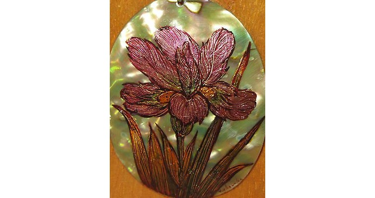 Abalone Pendant With Painted Flower 7