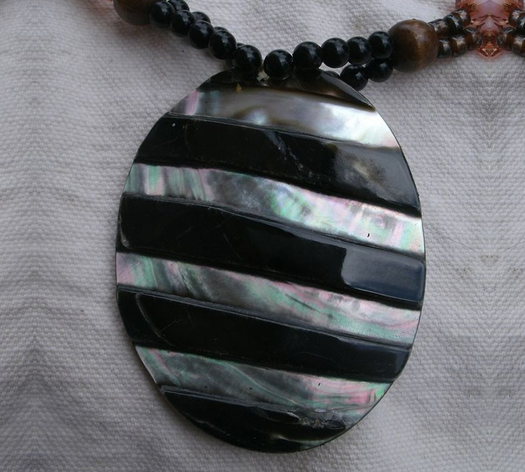 Abalone Pendant With Unique Tribal Design 6