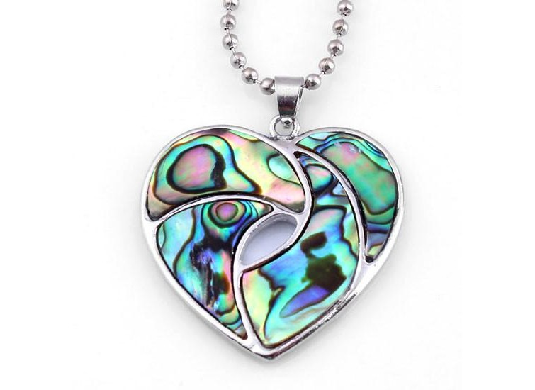 Charm Heart Shape Hollow Out Natural Abalone 1