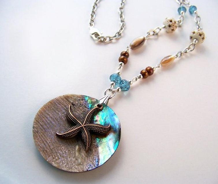 Round Abalone Pendant With Starfish Charm 5