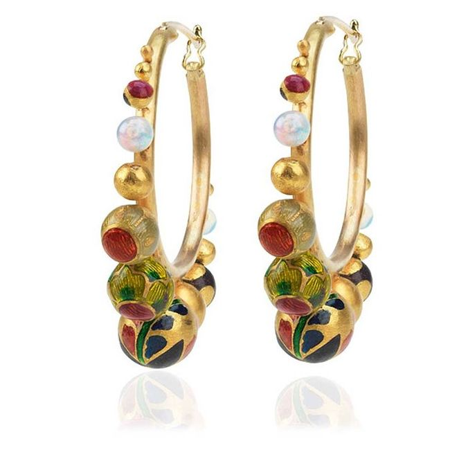 alice cicolini kimono yellow gold and enamel hoop earrings