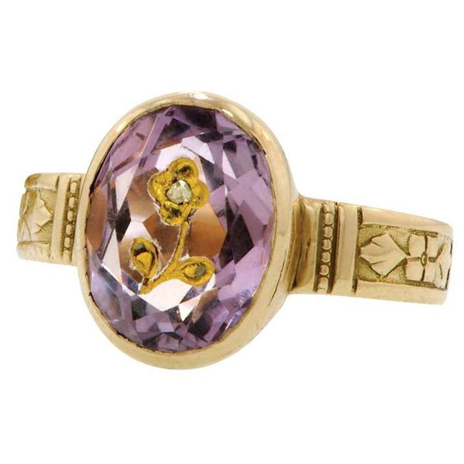 amethysts diamonds ring