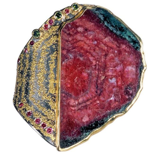 Atelier Zobel Ruby Ring in Gold and Silver with Green and Pink Diamonds
