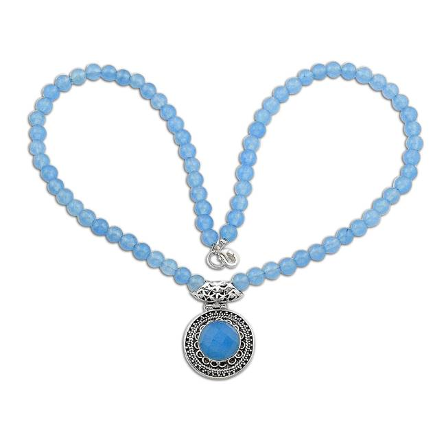beads and blue chalcedony gemstone necklace