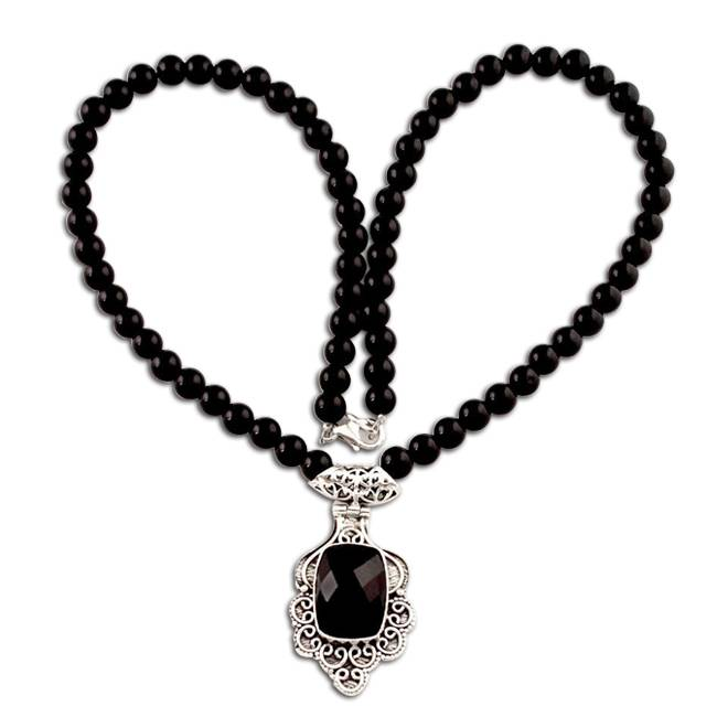 black colored beads necklace
