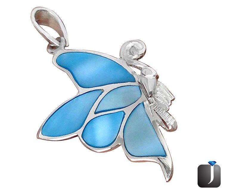 blister pearl enamel butterfly pendant