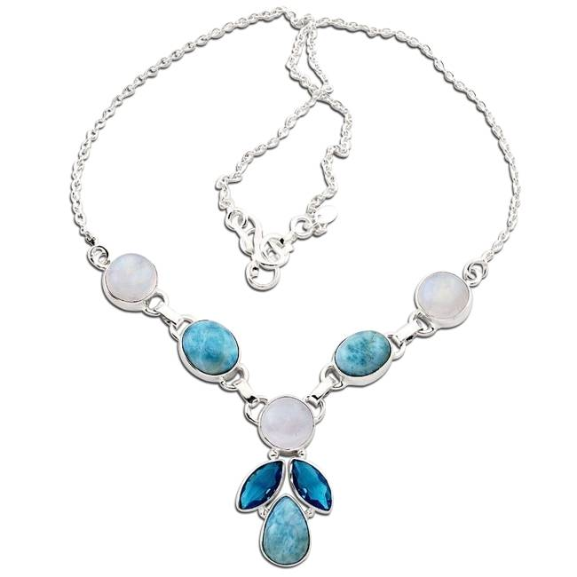 blue larimar and moonstone necklace