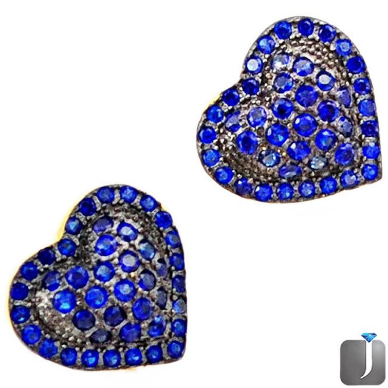 blue sapphire gold heart stud earrings