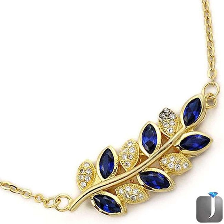blue sapphire gold tree branch leaf necklace