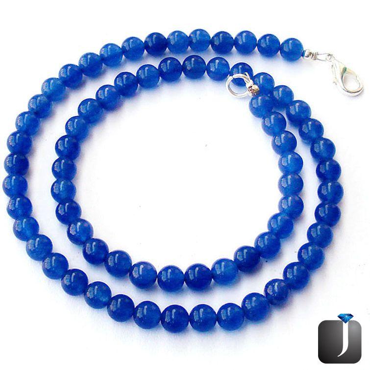 blue sapphire quartz round necklace beads