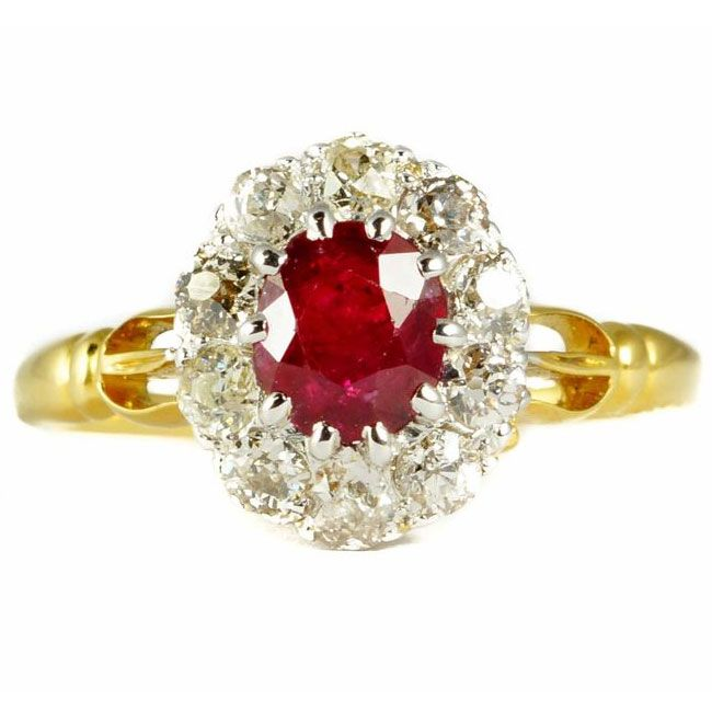 butter lane ruby centre victorian cluster ring