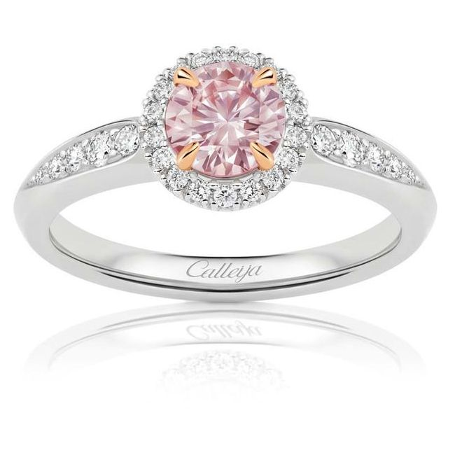 calleija oval cut pink diamond ring