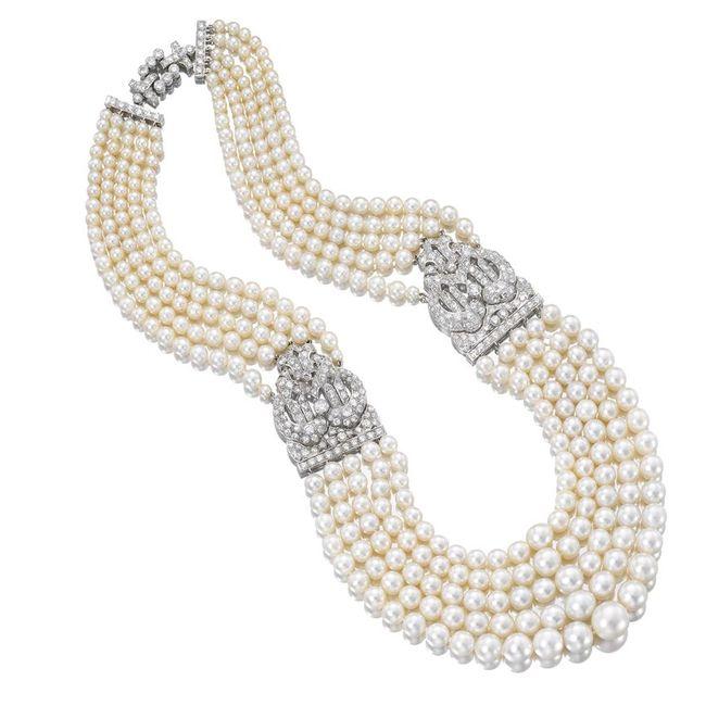 cartier diamond pearl necklace