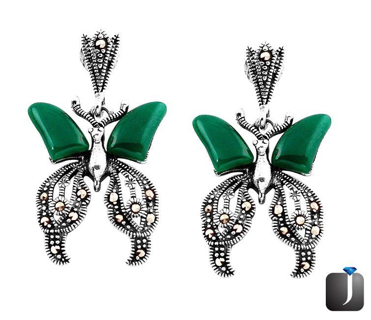 alcedony butterfly earrings