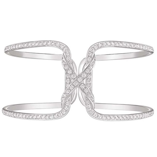 Chaumet Liens Cuff in Rhodium Plated White Gold