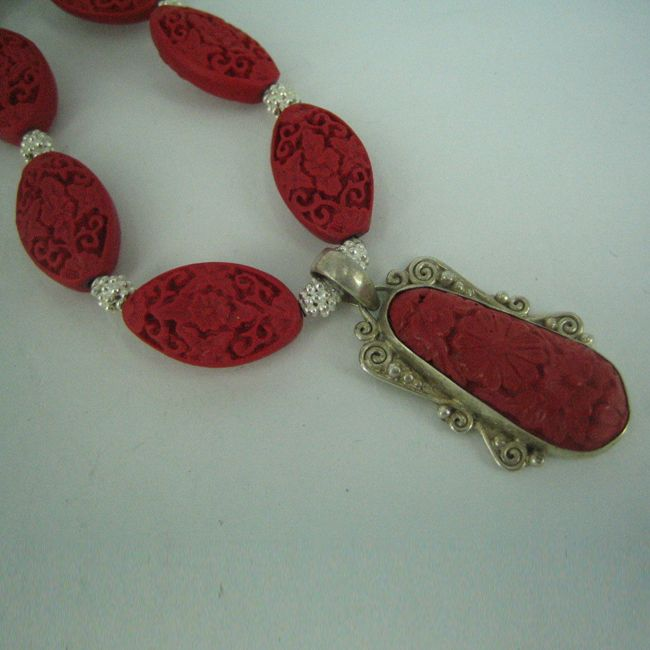 cinnabar lacquer bead necklace