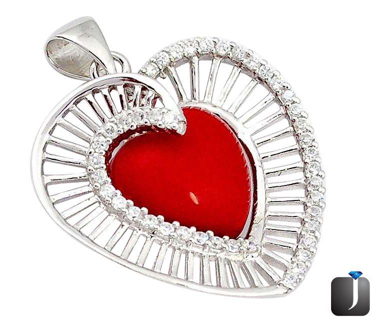 coral heart pendant