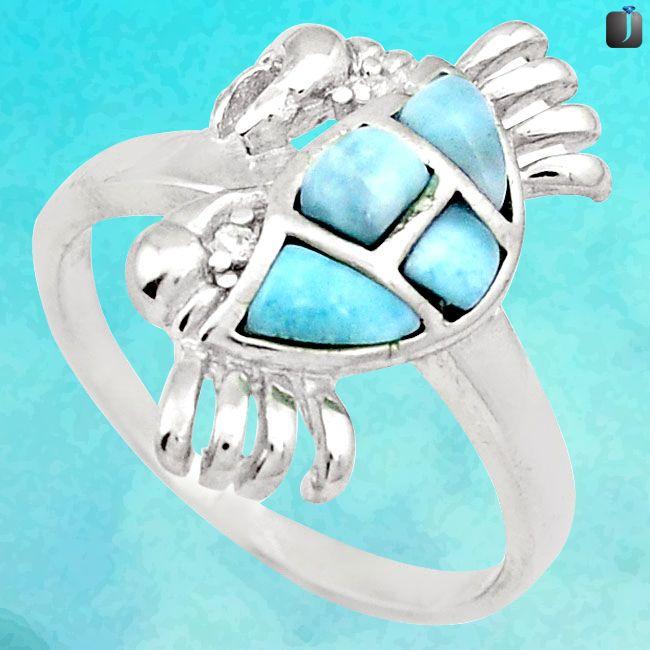 crab larimar ring