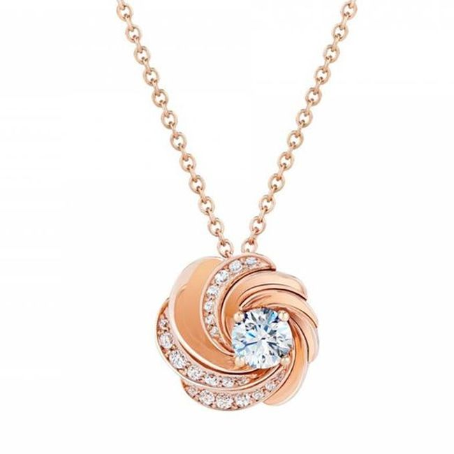 De Beers Aria Rose Gold Necklace with Diamonds