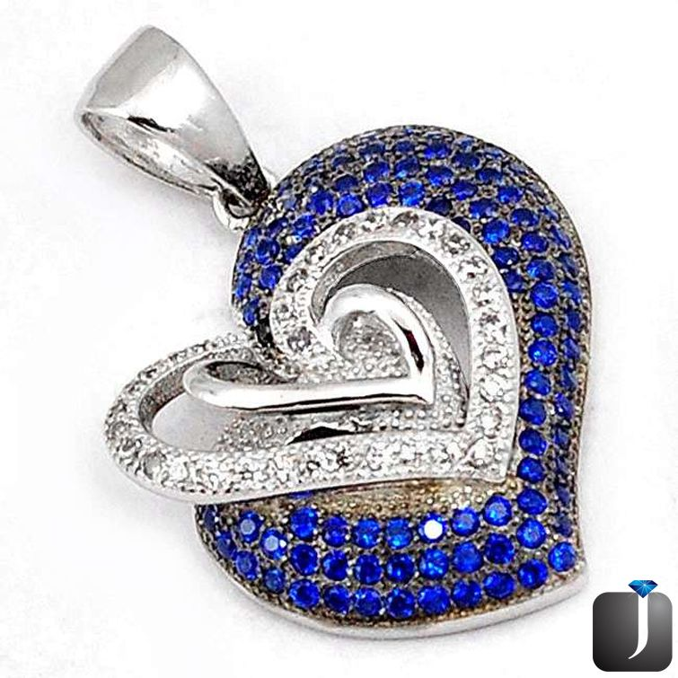 designer heart gorgeous blue sapphire quartz topaz pendant.