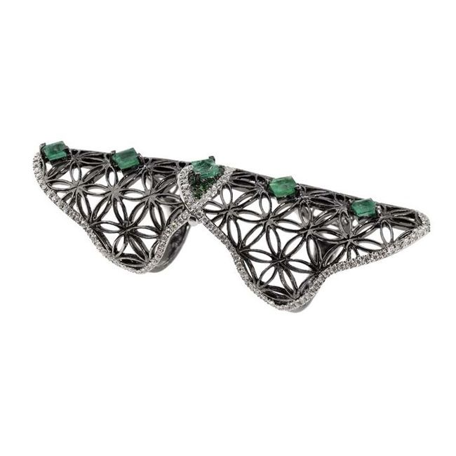 dionea orcini black gold ring with diamonds emeralds tsavroites ring