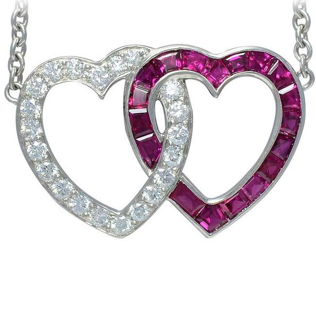 double heart ruby and diamond pendant