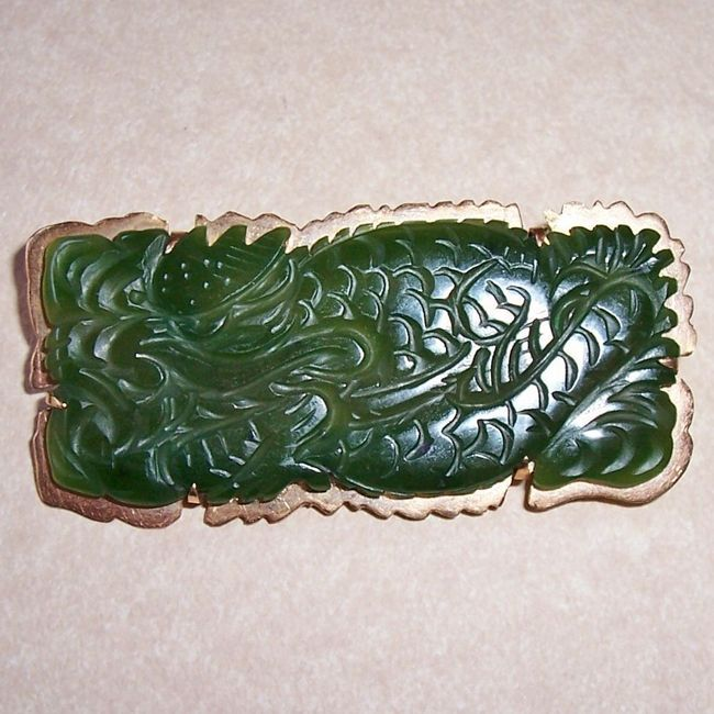 dragon carved chinese jade brooch