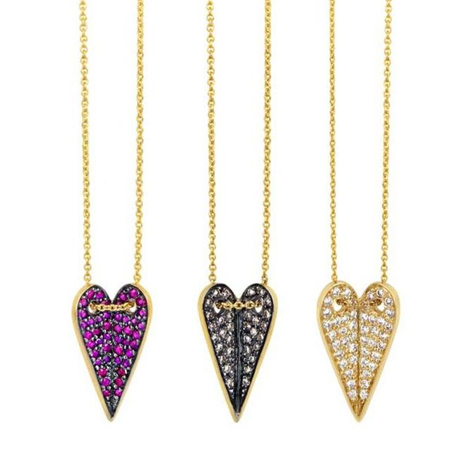 Elena Votsi Heart Necklaces with Sapphires