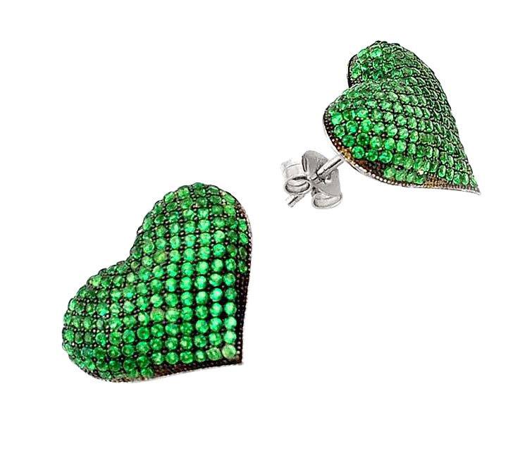 emerald heart stud earrings