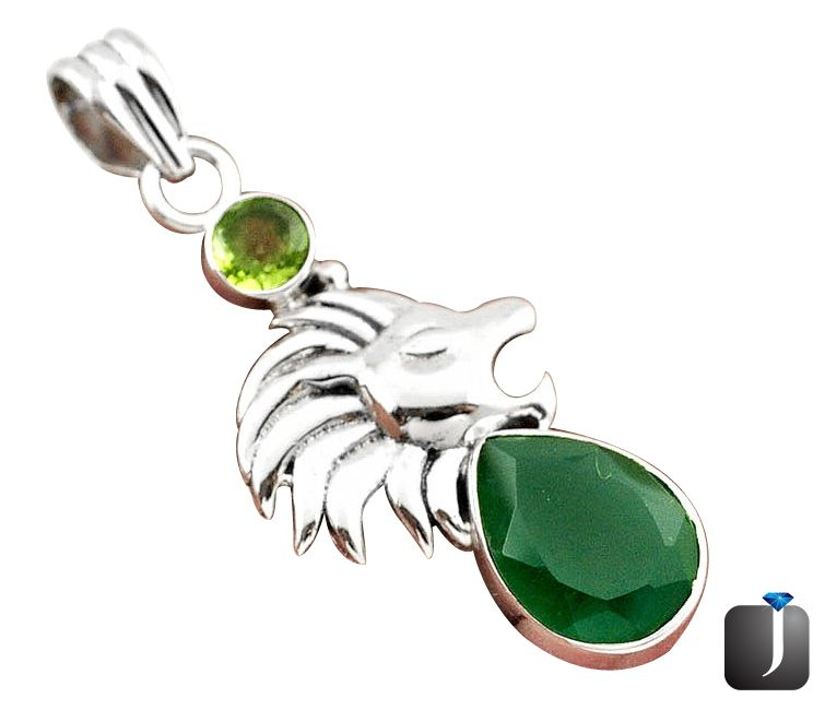 emerald lion pendant