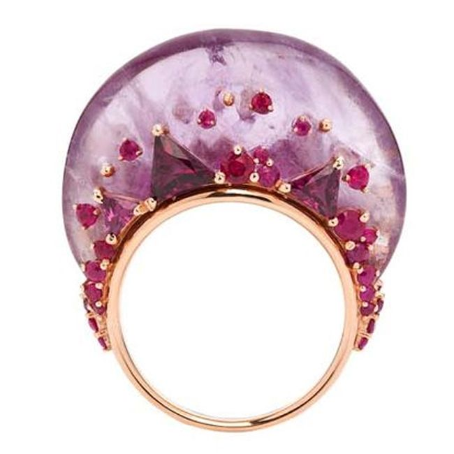Fernando Jorge Fusion Tall Ring in Rose Gold with Rubies Rhodolites and Amethyst