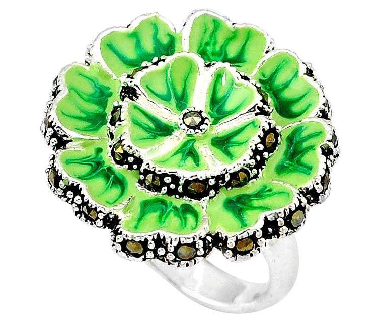 floral green enamel ring
